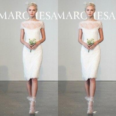 2016 New Fashionable Simple Short Lace Sheath Wedding Dresses Knee Length Vestido Modest Beach Robe