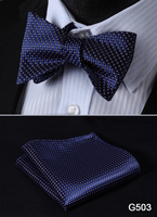 Check Polka Dot Silk Jacquard Woven Men Butterfly Self Bow Tie BowTie Pocket Square Handkerchief Hanky Suit Set G5 3