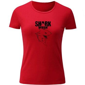 Camiseta de manga corta de verano con estampado de dibujos animados de la semana del tiburón de muestra, Camiseta de algodón para mujer y Chica, camisetas deportivas, ropa de calle a la moda