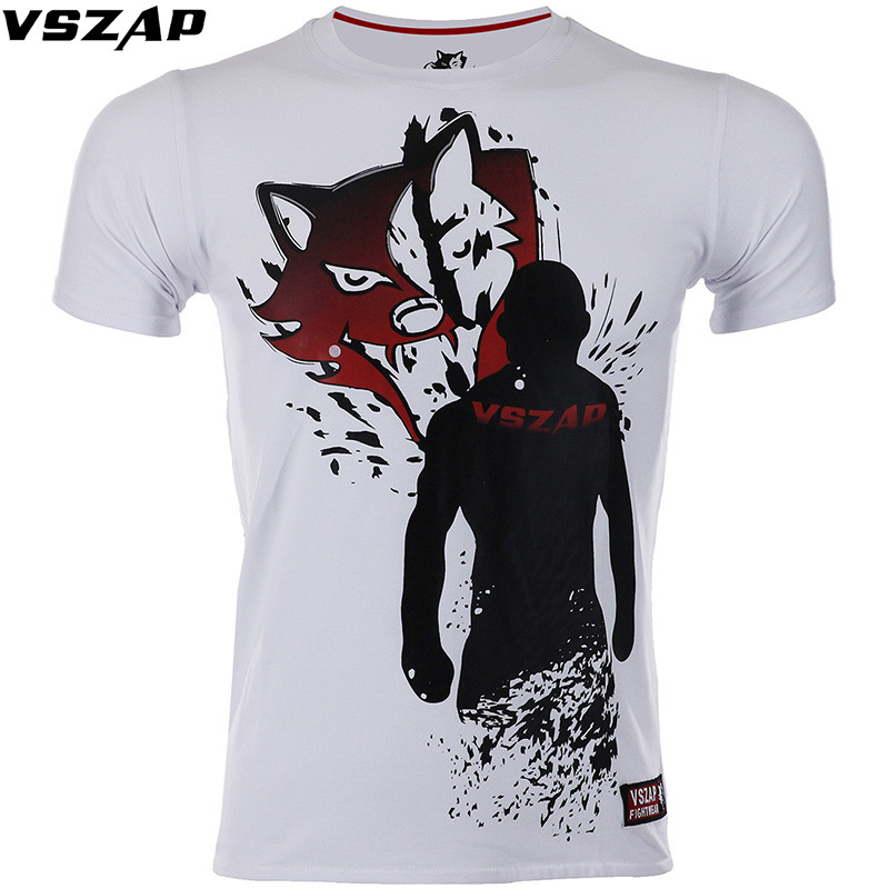 VSZAP Boxing MMA Shirt White Gym Tee Shirt Fighting Fighting Martial Arts Fitness Training Muay Thai T Shirt Men Homme