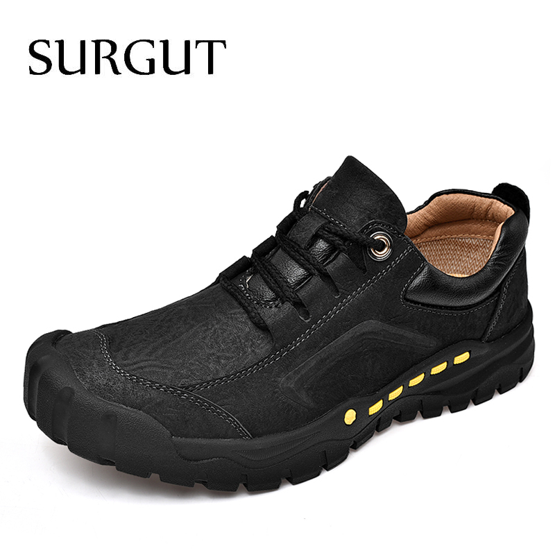 SURGUT Genuine Leather Men Casual Shoes Luxury Brand 2019 Men Loafers Moccasins Breathable Black Men Driving Shoes Size 38~44