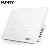 Funry ST2 3Gang US Standard Switch Push Button Sensor Touch Switch Touch Wall Light Switch Glass