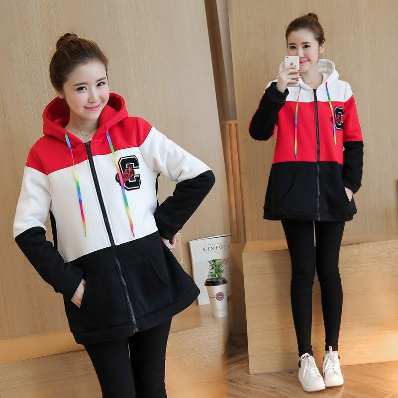 ФОТО Plus Velvet Autumn/winter Maternity Sweater Fleece Maternity Hoodies Pregnancy Fleece Jacket Outerwear Maternity Clothing B412