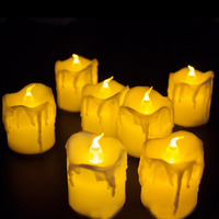 12Pcs LED Flameless Candles Waterproof Tea Lights Wax Dripped Candles Home Room Decor SDF SHIP|  -