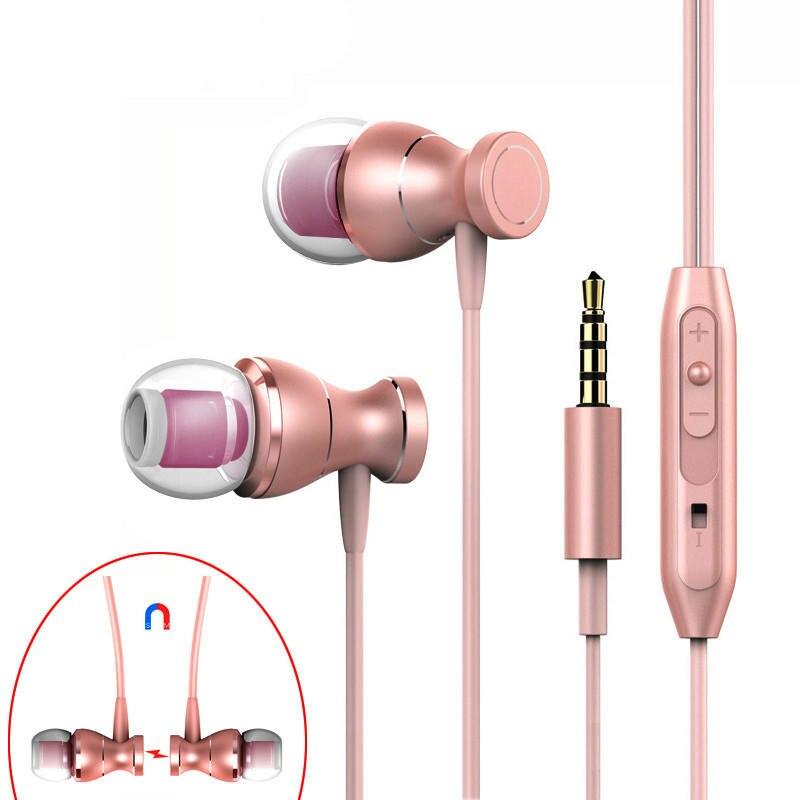 In Ear 3.5mm Earphone With Mic Magnetic Headset Earphones Stereo Earphones Earpieces For Iphone Samsung Xiaomi
