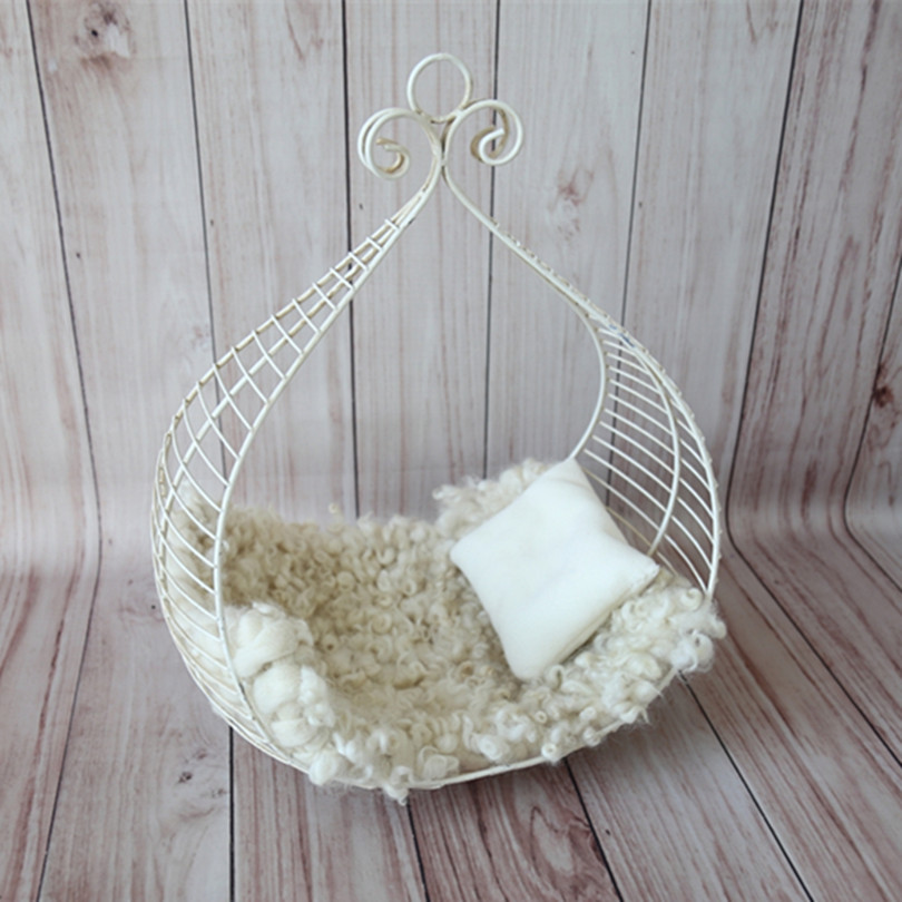 Baby Bed Props Baby Christmas Gift Iron Hanging Bed Photography Prop Newborn Girl Boy Cradle Posing Backdrop Birthday Gift