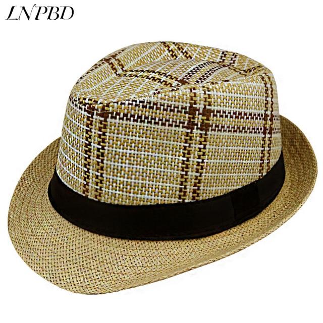f52118ba1a143 2018 new Sun Hat Straw Men Beach Summer Fashion Hats For Women Trilby  Gangster Cap Jazz