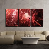 3 Piece Canvas Wall Art Abstract Painting with Blurry and Stained Structure Color Effect and Computer Collage Modern Home Decor
