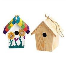 2 UNIDS/LOT. Pintura inacabada casa del pájaro de madera, Los Niños de juguete. Dibujo juguetes. Early educativos DIY. manía creativa. Kindergarten crafts6x6x9 cm