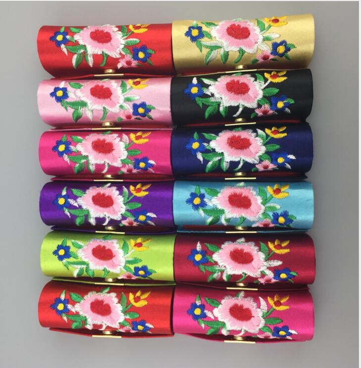 50 pcs/lot Lipstick Case Retro Embroidered New Fashion Holder Flower Design with Mirror Box