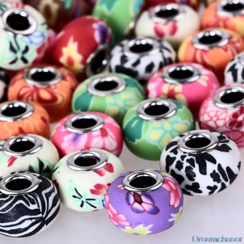 20PCS/Lot Mixed Color 15*9mm DIY Bracelet Beads in Fimo Polymer Clay Accessories fit for European Pandora Bracelet and Necklace