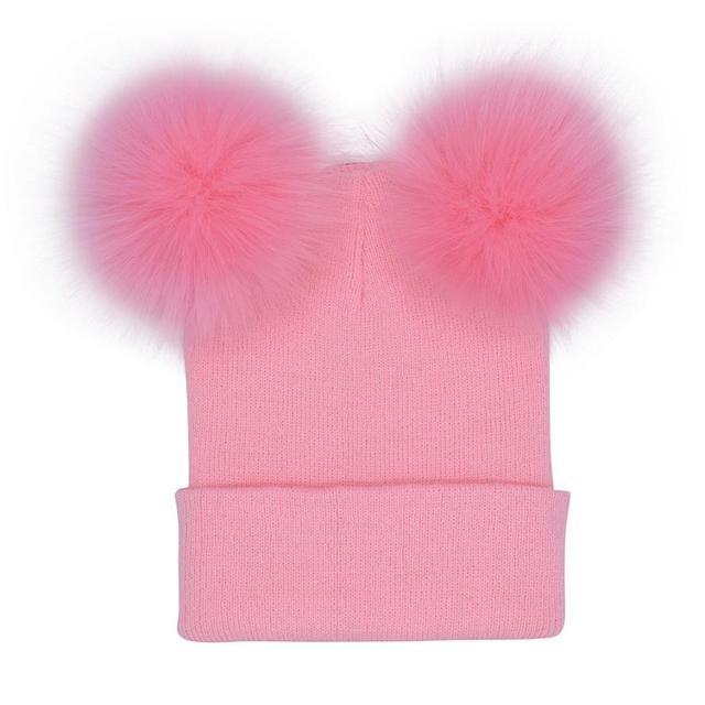2018 Autumn New Women Faux Fur Pompom Hat Female Winter Warm Cap Knitted Beanie Girl Double Ball Pom Pom Hats Woman Bonnet Femme