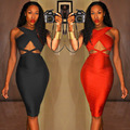 Free Shipping New Arrivals 2016 Slim Sexy Women Black Bandage Dress Party Bodycon Dresses
