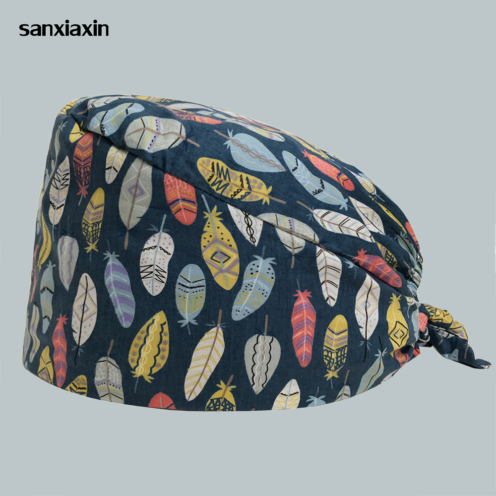 Women's Surgical Hats With Sweatband Floral Print Doctor Scrub Caps Unisex Workwear Cap Long Hair Cotton Scrub Surgical Caps New