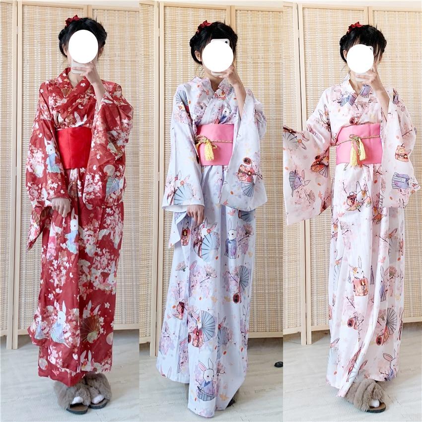 Japanese Traditional Kimono Dress Oriental Elegant Yukata Woman New Year Festival Kimono Obi Vintage Cosplay Costumes