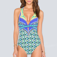 2017 New Style Swimwear Women One Piece Swimsuit Printed Bathing Suits Bodysuit Sexy Deep V Monokini