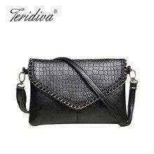 Teridiva Female Designers Fashion Vintage Bags Women Shoulder Bags Crocodile Small Women Messenger Bag Crossbody Envelope