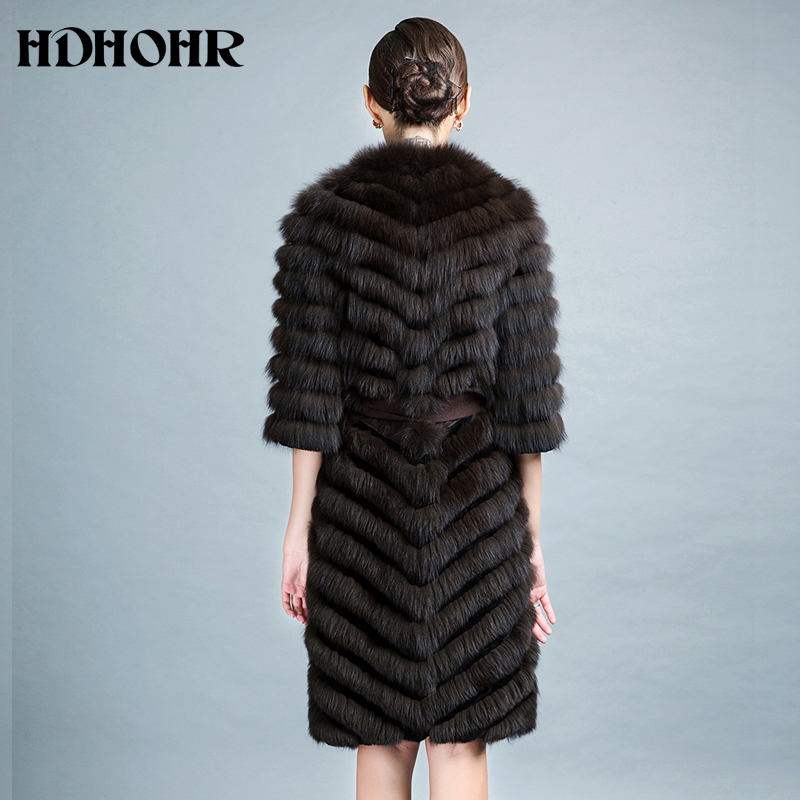 HDHOHR 2019 High Quality Long Fox Fur Coat Women Winter Natural Fox Jackets 100 Real Fur Coat With Belt Fishion Luxury Outwear in Real Fur from Women 39 s Clothing
