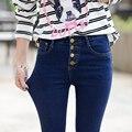 2016 New Fashion Women Pants Plus Size Stretch Skinny High Waist 4 Button Jeans Pants Women Blue Pencil Casual Slim denim Pants