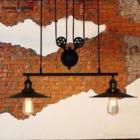 RH Lighting Vintage Industrial Pulley Pendant Lights Loft American Adjustable Wire 3 Heads Pulley Light Edison Pendant Lamps