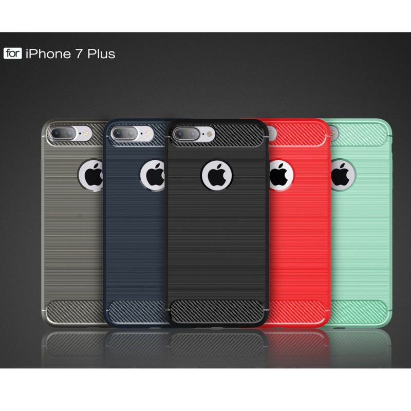 Dulcii For iPhone7Plus 5.5 Cover Armor Brushed TPU Case with Carbon Fiber Decorated for iPhone 7 Plus 5.5