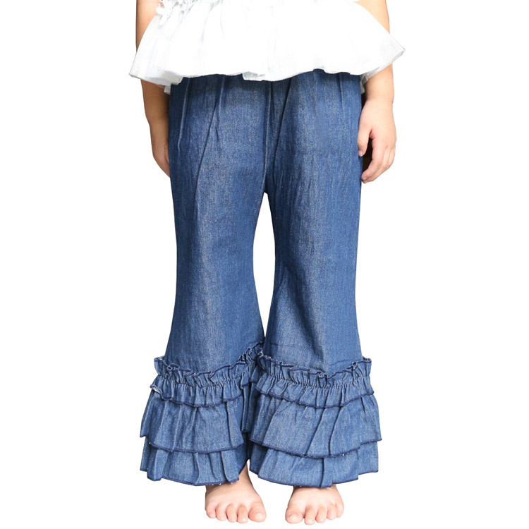 Baby girls jeans Flare pants jean long trousers for kids girl 1-6years old children denim wide leg baggy pants Ruffle Pants