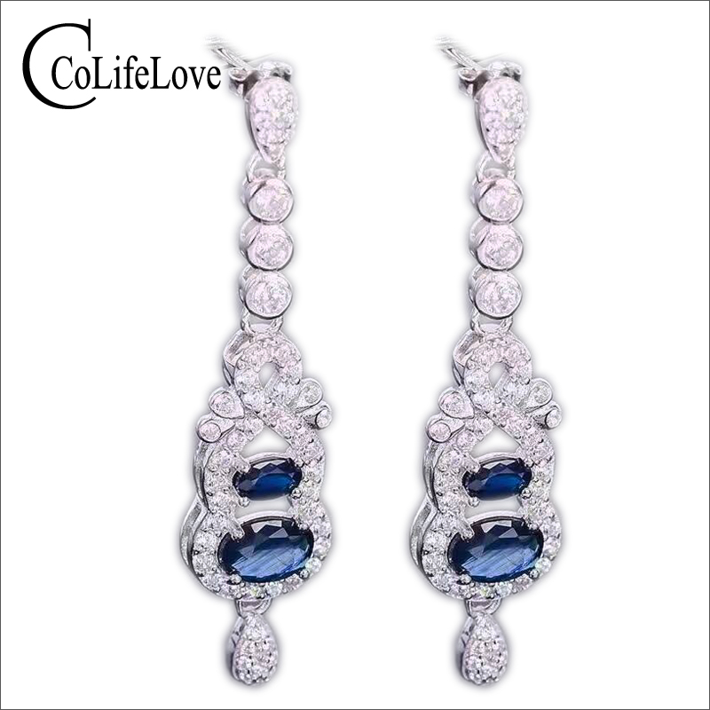 Luxurious sapphire drop earrings natural dark blue sapphire gemstone solid 925 silver gemstone earrings for woman silver earring natural sapphire gemstone loose stone from chinese biggest sapphire mine dark blue natural sapphire loose gemstone