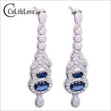 Luxurious sapphire drop earrings natural dark blue sapphire gemstone solid 925 silver gemstone earrings for woman silver earring - DISCOUNT ITEM  0% OFF All Category