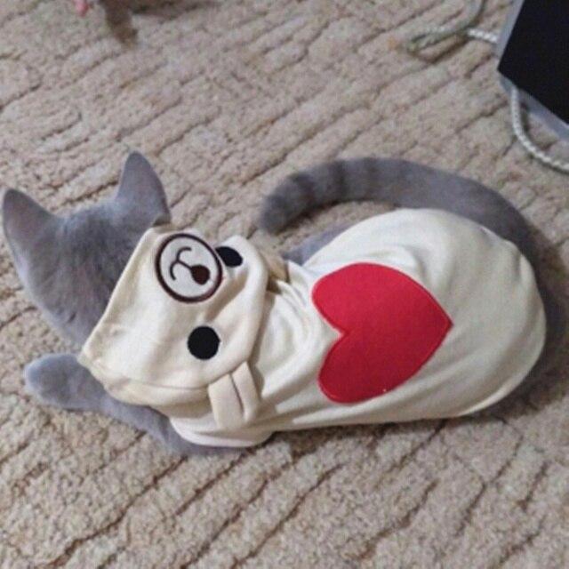 Милый Кот одежда мода весна Cat пальто с капюшоном Одежда для маленьких кошки Экипировка жилет кролика животных Pet Одежда 1a20