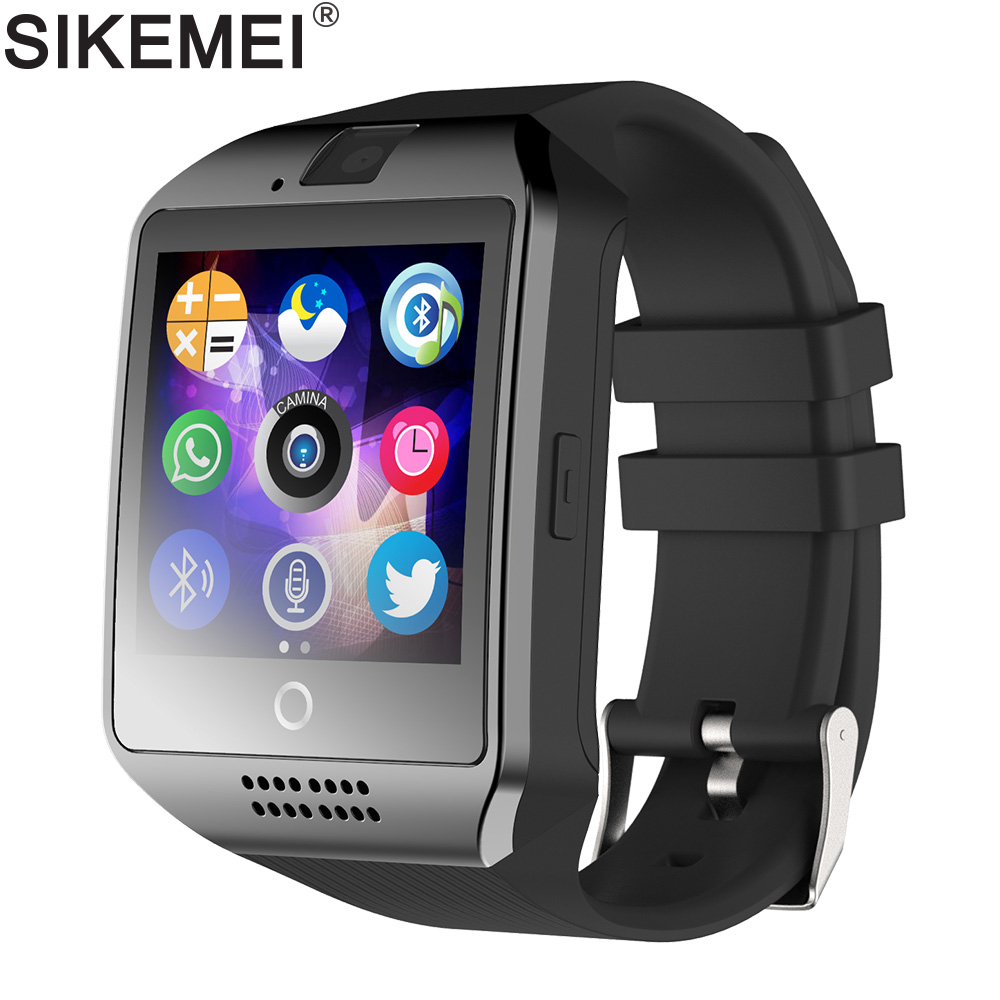 b6bc233b8de SIKEMEI Q18 Smartwatch Bluetooth Relógio Inteligente Telefone com Tela  Sensível Ao Toque Câmera Pedômetro Apoio TF Cartão SIM para Smartphone  Android