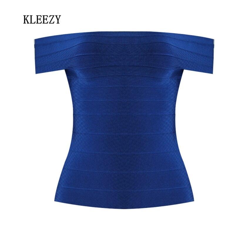 Kleezy с открытыми плечами Slash шеи бинты Женщины Топ Леди жилет Camiseta 4 вида цветов красный цвет синий, черный; Большие размеры 34–43 hl1512 ...