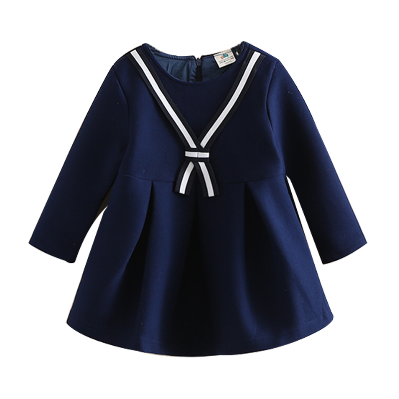 beafb4f16 Baby girl dress 2018 autumn and winter Cute Baby Girl Dress children Navy dresses  thickened girl