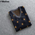 Free shipping Simple business casual autumn winter cashmere knitted sweater vest bees pattern DS030
