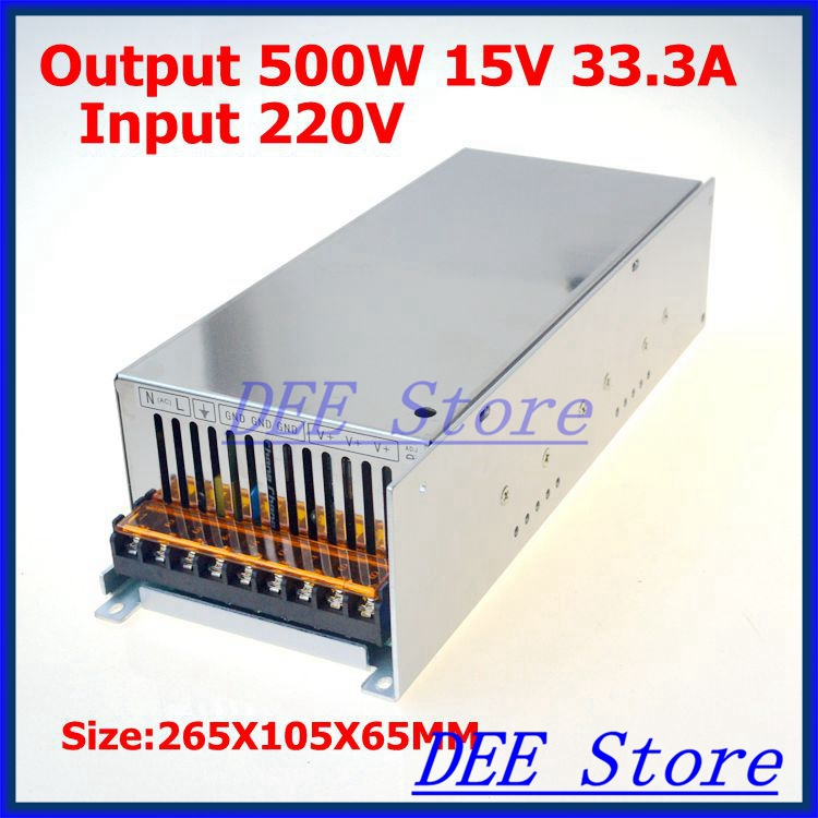 Led driver 500W 15V(0V~16.5V) 34A Single Output  ac 220v to dc 15v Switching power supply unit for LED Strip light ac 85v 265v to 20 38v 600ma power supply driver adapter for led light lamp