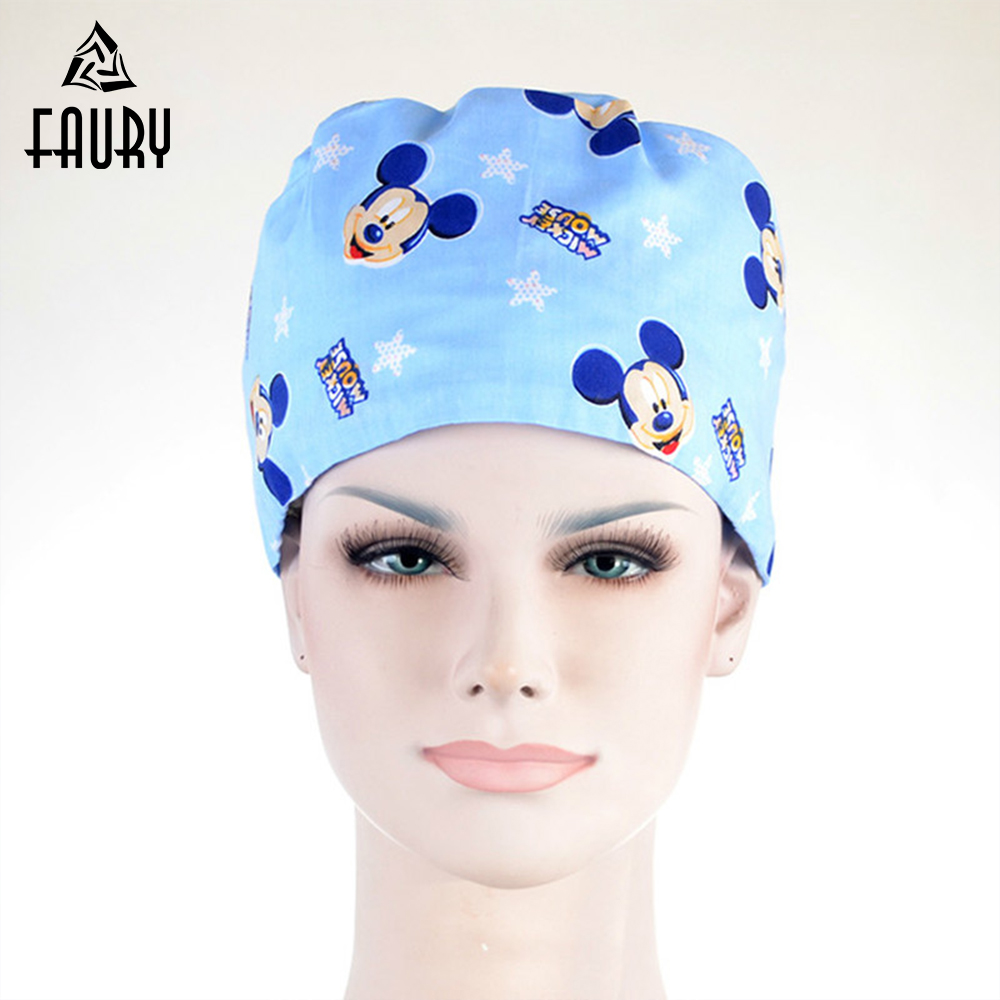 2019 Hospital Surgical Cap Women Men Design Nurse Caps Uniform Adjustable Blue Mickey Pattern Cotton Doctor Beauty Medical Hats