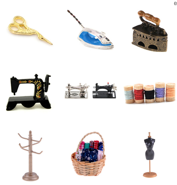 Cute 1/12 scale Dollhouse Miniature Sewing Tools Sewing Machine Wooden Ribbon Scissors Rack Shelf Clothes Furniture Toys