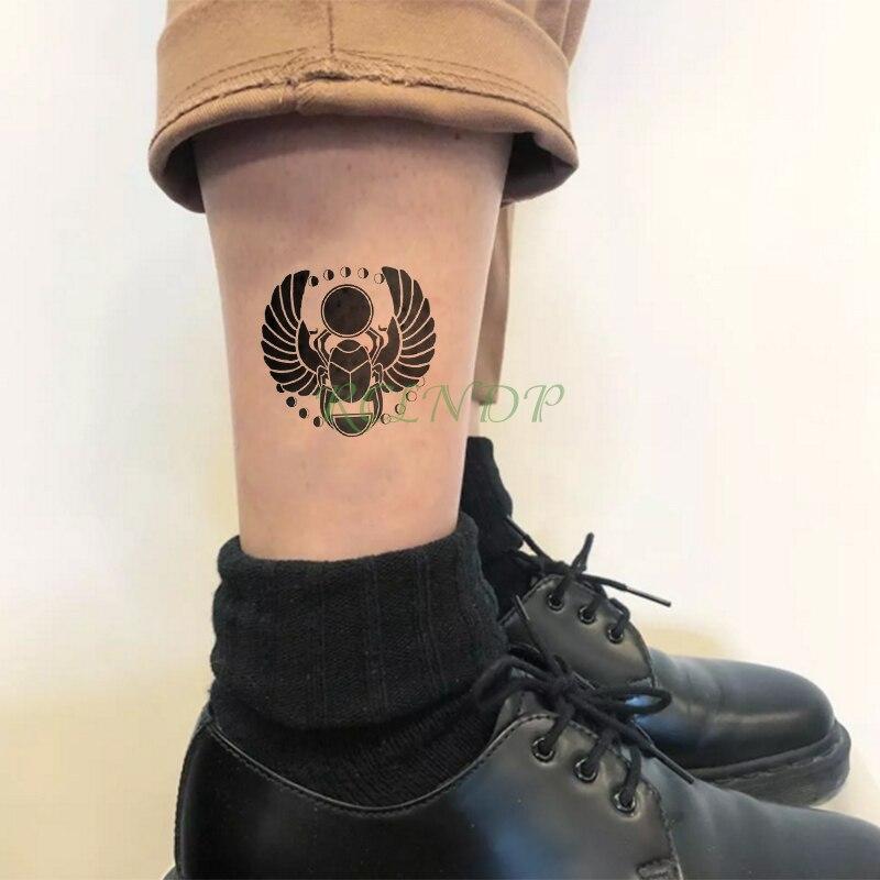 Водонепроницаемый Временные татуировки Стикеры Древний Египет навоз Чейфер tumblebug временная татуировка флэш-тату Tatouage руки ноги для Для муж...