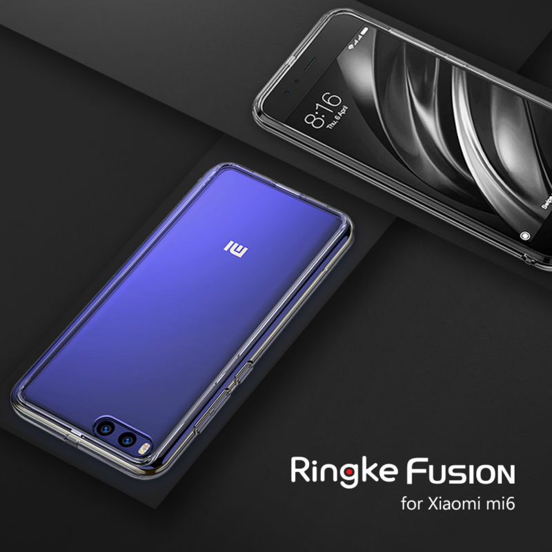 Цена за Оригинальный Ringke Fusion телефон чехол для Xiaomi Mi6 случае ясно pc твердый переплет и мягкой ТПУ кадров чехол для мобильного телефона Для Mi6