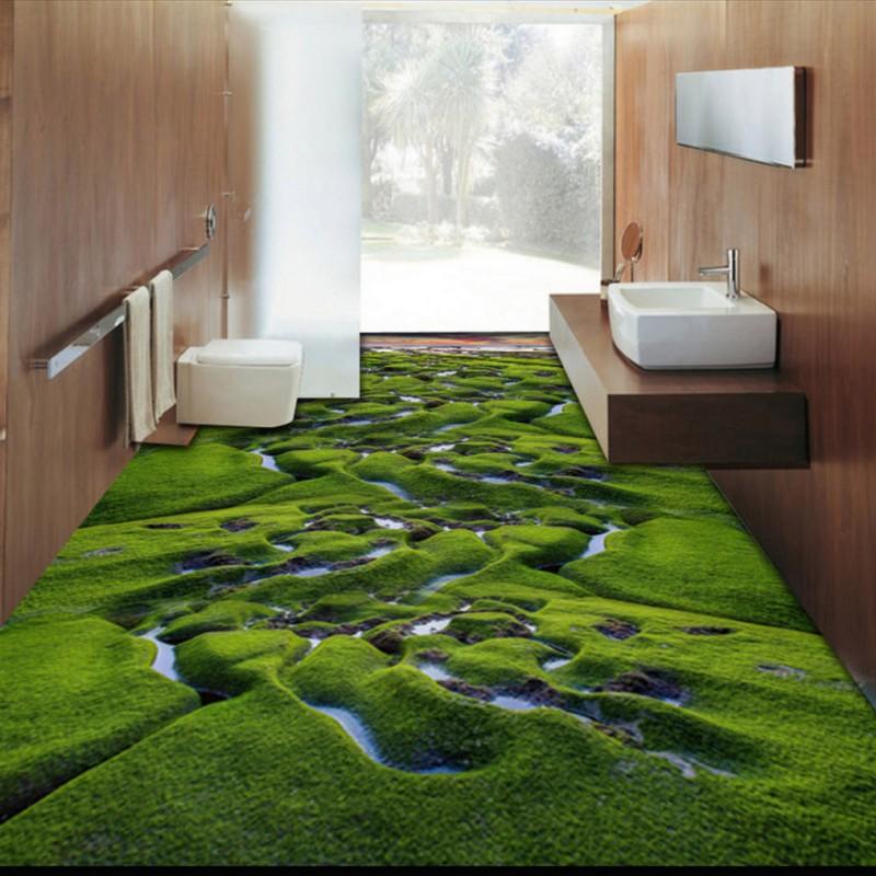 Free shipping custom grassland creek wetland plant 3d for 3d wallpaper for home floor