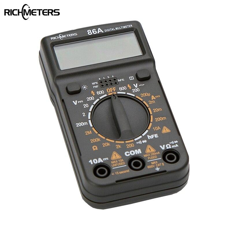 86A tamaño de bolsillo Mini multímetro Digital HFE retroiluminación AC/DC amperímetro voltímetro ohmios probador eléctrico portátil 1999 contador