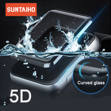 Suntaiho for apple watch Screen Protector 5D Full Cover Tempered Glass For Apple Watch 4  42/38mm Series 3 2 Film Protection