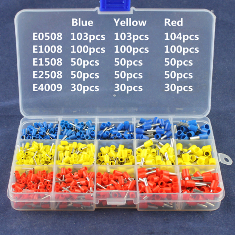 1000Pcs/Pack Bootlace Cooper Ferrules Kit Set Wire Copper Crimp Connector Pre-Insulated Cord Pin End Terminal 1065pcs set 3 colors 22 12awg wire copper crimp connector insulated cord pin end terminal bootlace cooper ferrules kit set brass