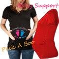 Americanos europeos Funny Baby Footprints Impreso Embarazada Maternidad Camisetas Ropa Creativas Mujeres de Talla grande Ropa de Verano