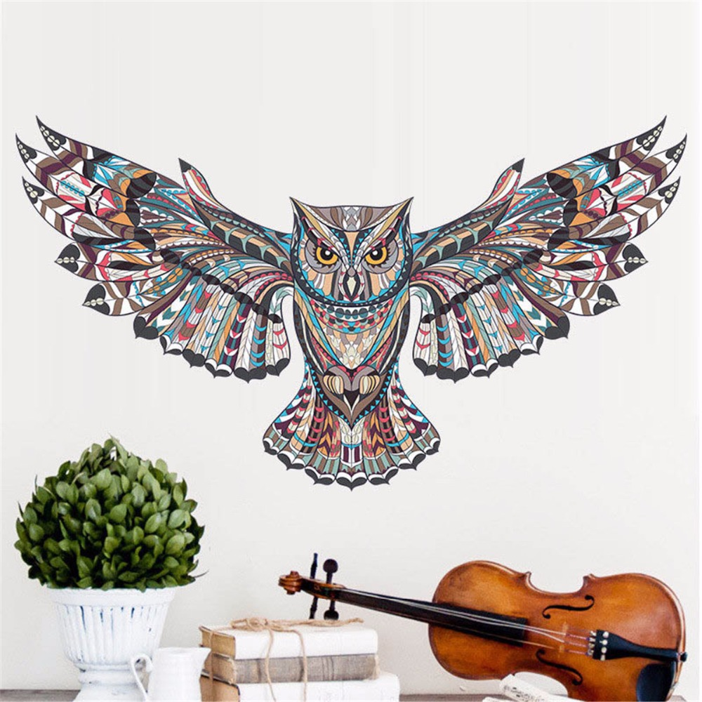 PVC Colorful Flying Owl Wall Sticker Removable Modern Art Animal Stickers Mural Decals Kids Bedroom Nursery Rooms Decorations in Wall Stickers from Home Garden