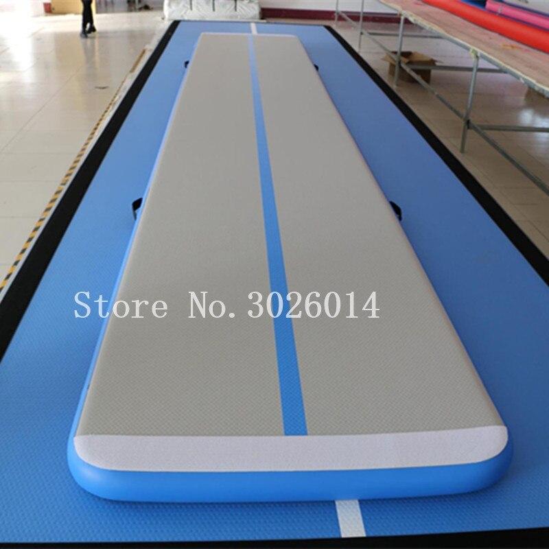 Livraison gratuite tapis de gymnastique 6 m, tapis gonflable de Tumbling de piste d'air Gym pour la gymnastique, tapis de sol d'air pour la maison avec une pompe
