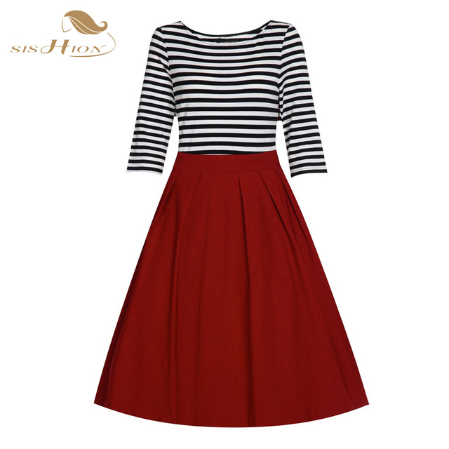 100% Real Rockabilly Dress Summer Autumn 50s Retro Vintage Dresses Plus Size Women Clothing Swing Black Red Autumn Dress VD0190