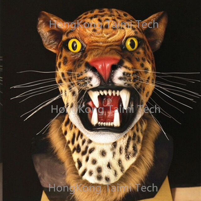 Realistic Saber Tiger Full Mask Animals Overhead Scary Horror Halloween Latex Taimi Tech