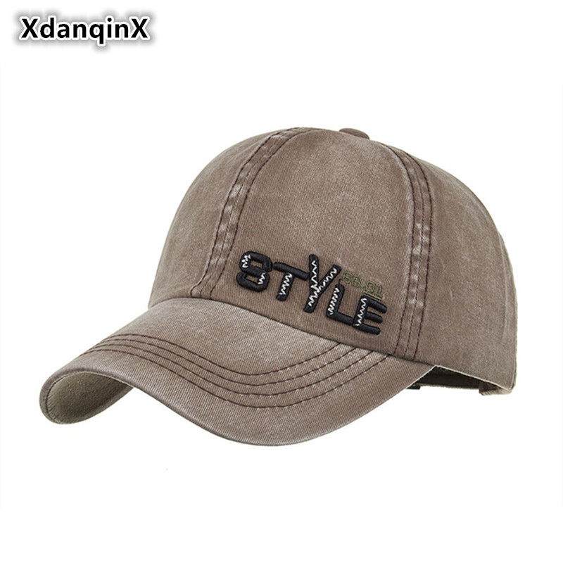 XdanqinX Spring Summer 2019 New Style Embroidered Letter STYLE Washed Cotton Baseball Caps For Men Women Personality Hip Hop Cap