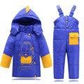 Children Clothing Baby Boys Girls Winter Duck Down Coat Kids Warm Jackets Cartoon Dinosaure Toddler Snowsuit Jacket + Pants 2pcs