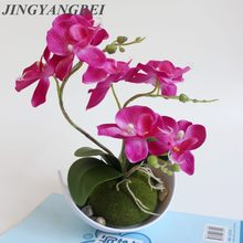 Artificial Butterfly Orchid Potted plants silk Flower with Plastic pots moss Home Balcony Decoration vase set wedding Decorative(China)